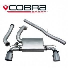 Echappement avec valve COBRA Sport après catalyseur (Catback) pour FORD Focus RS MK3. Diametre 76.2 mm