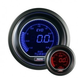 Manomètre Prosport Pression Turbo Digital Diamètre 52mm -1 à +2 Bars Bleu/rouge