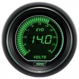 Manomètre Prosport Pression Turbo Digital Diamètre 52mm -1 à +2 Bars Blanc/Vert