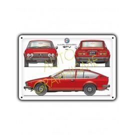 Plaque Metallique ALFA ROMEO ALFETTA GTV 2.0L