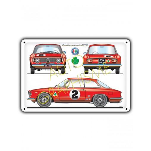 Plaque Metallique ALFAROMEO GIULIA SPRINT GTA 1600